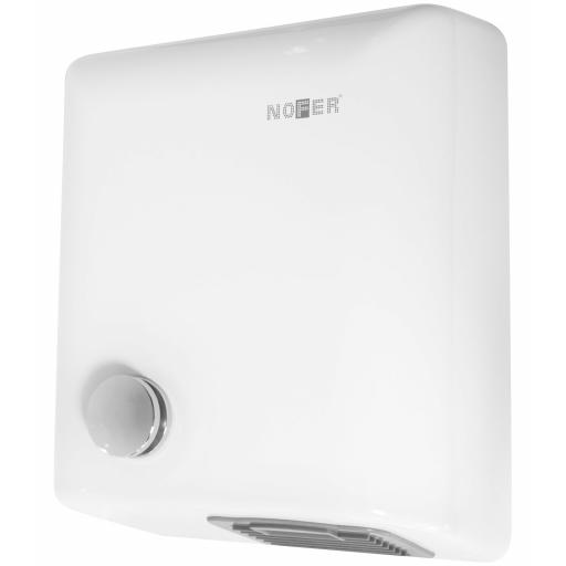BIGFLOW manual hand dryer with a painted white finish