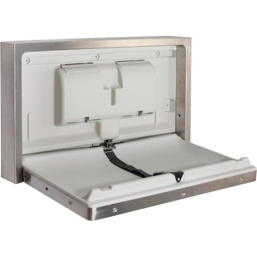 Surface mounted horizontal baby changing station in stainless steel and HDPE