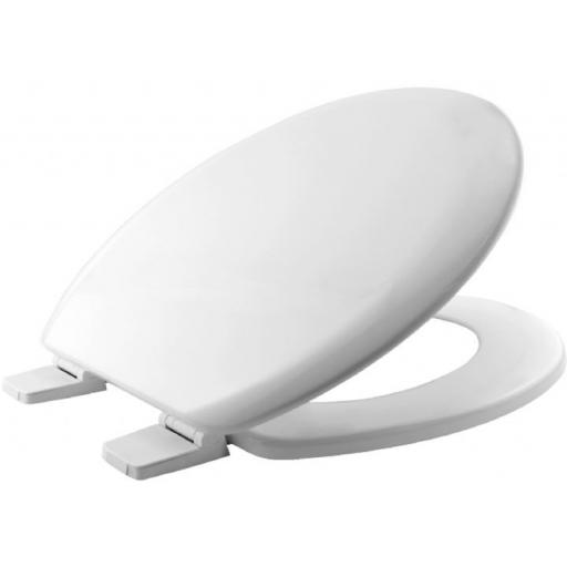 Universal toilet seat in moulded wood in white