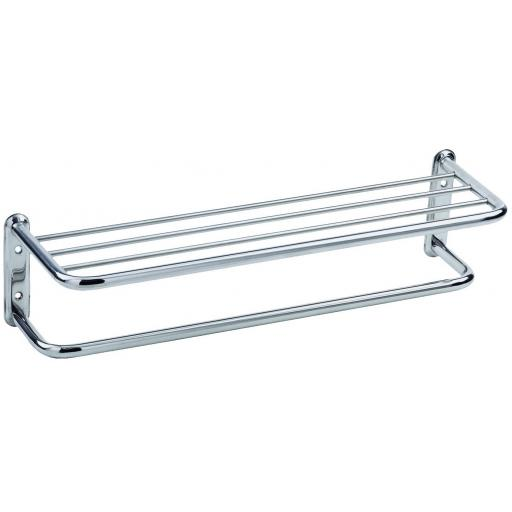CLASSIC series round edged towel rack & shelf with hanging bar, 650mm satin
