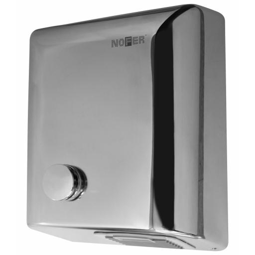 BIGFLOW manual hand dryer with a polished finish