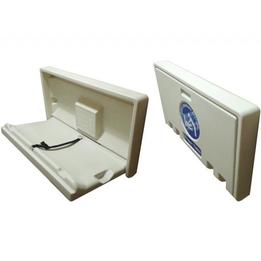 Horizontal baby changing station in HDPE