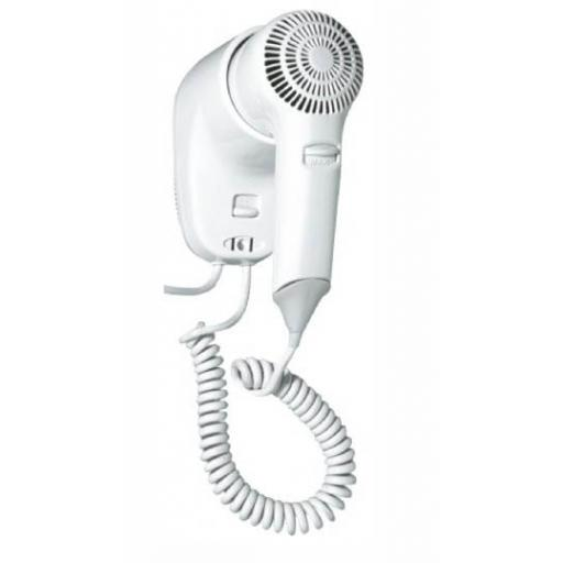 Hotel Line hair dryer 2 speed with wall support white