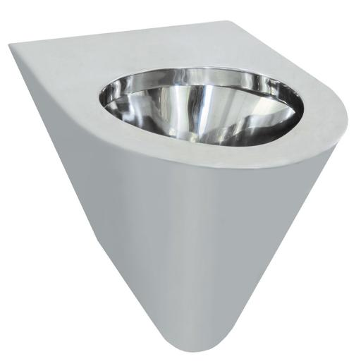 Wall mounted stainless steel toilet 380 height | polished