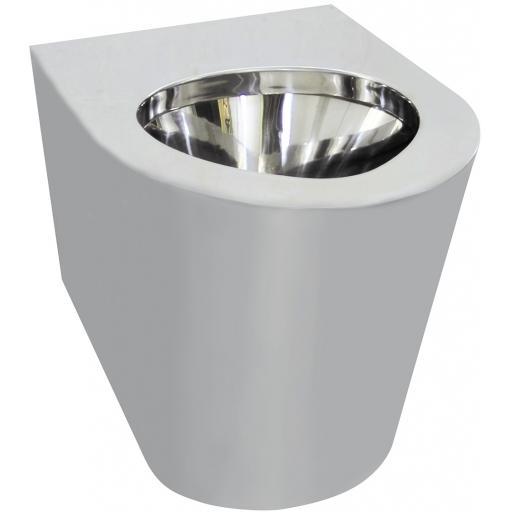Adapted stainless steel toilet 460 height | satin
