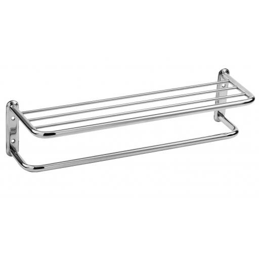 CLASSIC series round edged towel rack & shelf with hanging bar, 650mm polished