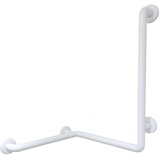 Right sided corner grab rail with double angle and white nylon coating