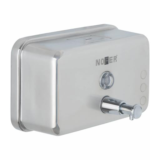 Horizontal manual wall mounted soap dispenser 1200ml in stainless steel with satin matt finish