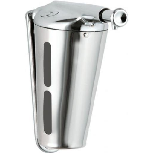 Manual wall mounted soap dispenser in stainless steel 345ml conical