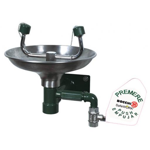 Emergency wall mounted eye wash station with a stainless steel basin