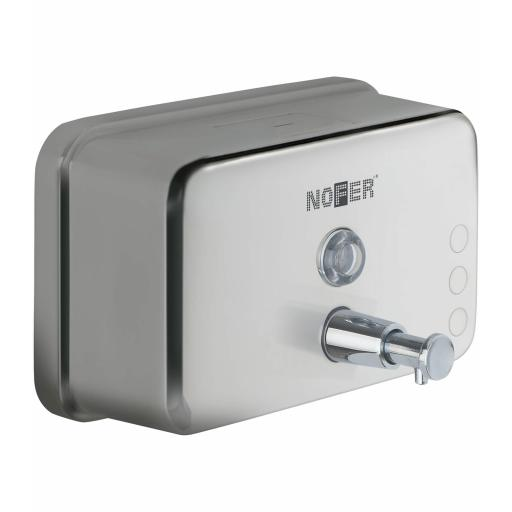 Horizontal manual wall mounted soap dispenser 1200ml in stainless steel with a polished finish