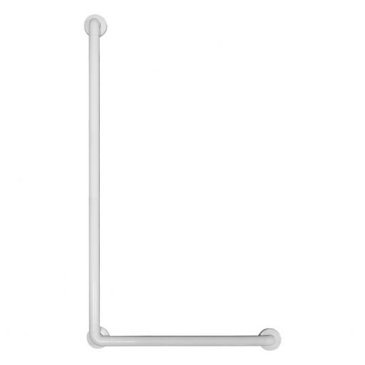 Aluminium angled grab rail white nylon coating 1200x700mm