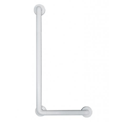 Aluminium angled grab rail white nylon coating left side 700x400mm