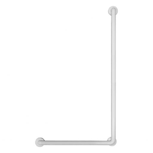 Aluminium angled grab rail white nylon coating 700x1200mm