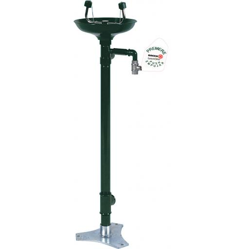 Emergency eye wash station with pedestal and stainless steel basin