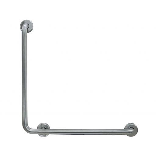 Angled grab rail satin matt stainless steel 600x600mm