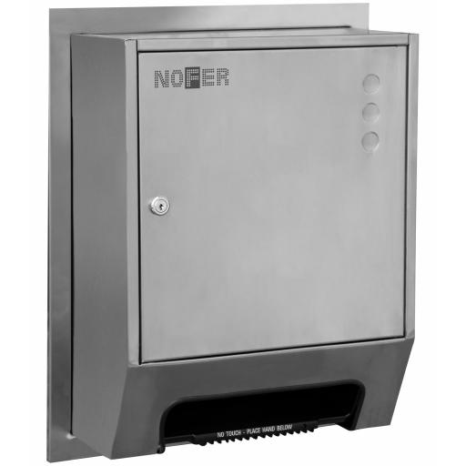 Heavy duty semi-recessed paper towel dispenser with automatic supply and manual cut