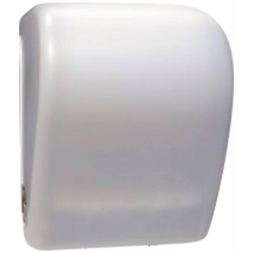 WHITE paper towel dispenser with automatic feed and cut