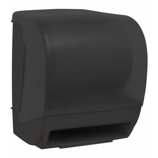 Automatic feed paper towel dispenser manual cut
